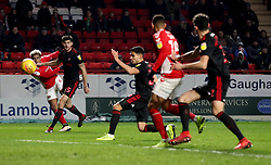 An own-goal is scored by Sunderland's Reece James (centre) after a cross from Charlton Athletic's Lyle Taylor (left) for their first goal