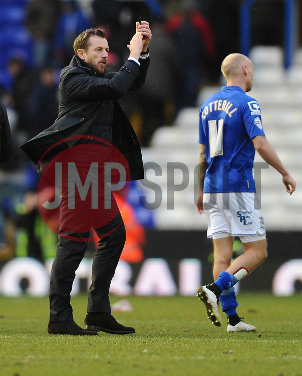 Birmingham City Manager, Gary Rowett  thanks the home fans  - Photo mandatory by-line: Joe Meredith/JMP - Mobile: 07966 386802 - 28/02/2015 - SPORT - Football - Birmingham - ST Andrews Stadium - Birmingham City v Brentford - Sky Bet Championship