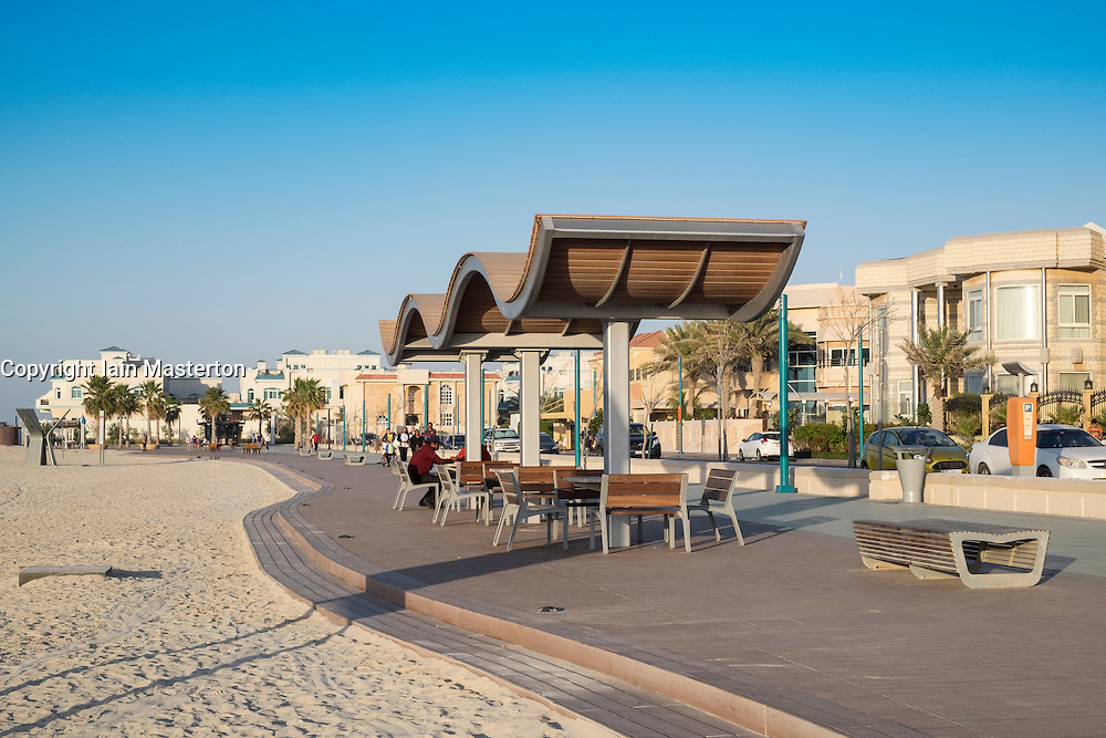 New public boardwalk and jogging track with pavilion beside beach   in Dubai United Arab Emirates