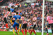 Omar Beckles of Shrewsbury Town (6) heads a shot at goal during the EFL Trophy Final match between Lincoln City and Shrewsbury Town at Wembley Stadium, London, England on 8 April 2018. Picture by Stephen Wright.