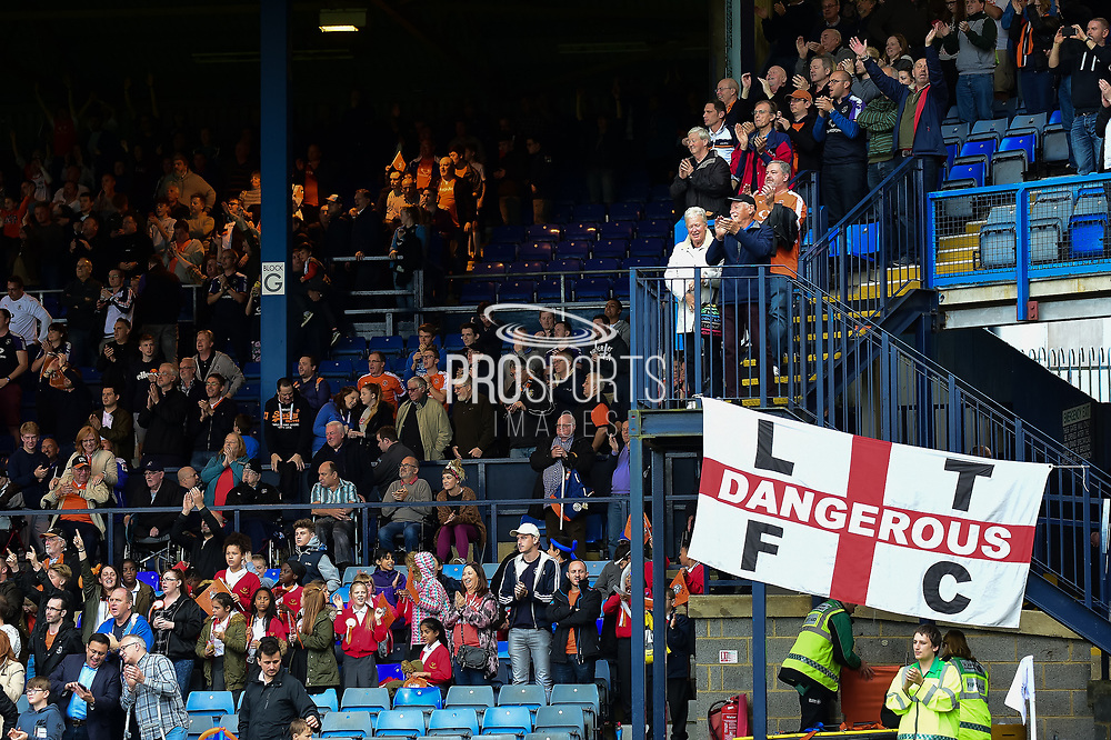 The Luton Fans cheer their team during the EFL Sky Bet League 2 match between Luton Town and Stevenage at Kenilworth Road, Luton, England on 14 October 2017. Photo by Dennis Goodwin.