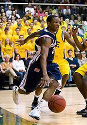 January 30, 2010; San Francisco, CA, USA;  Gonzaga Bulldogs guard Demetri Goodson (3) dribbles on the baseline during the second half against the San Francisco Dons at the War Memorial Gym.  San Francisco defeated Gonzaga 81-77 in overtime.
