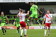 Forest Green Rovers Keanu Marsh-Brown(7) heads the ball during the EFL Sky Bet League 2 match between Forest Green Rovers and Newport County at the New Lawn, Forest Green, United Kingdom on 14 October 2017. Photo by Shane Healey.