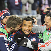 Charlie Davies, New England Revolution, celebrates after scoring the second of his two goal during the New England Revolution Vs New York Red Bulls, MLS Eastern Conference Final, second leg. Gillette Stadium, Foxborough, Massachusetts, USA. 29th November 2014. Photo Tim Clayton
