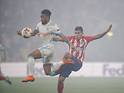 Ángel Correa of Atlerico Madrid beats Jordan Amavi of Marseille during the Europa League Final match between Olympique de Marseille and Atletico Madrid at Orange Velodrome, Marseille, France on 16 May 2018. Picture by Ahmad Morra.