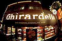 Fisheye View of Ghirardelli's at Night. The Original Chocolate Shop in San Francisco, California. Image taken with a Nikon D3x and 16 mm f/2.8 fisheye lens (ISO 1250, 16 mm, f/2.8, 1/60 sec).