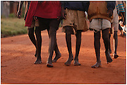Bea Ahbeck/Fremont Argus<br /> <br /> Night commuters walk back home in the early morning hours in Gulu, Northern Uganda Saturday, October 29, 2005. Thousands of children make the commute every night from surrounding villages to avoid being abducted by the Lord's Resistance Army and turned into child soldiers or sex slaves. Joseph Kony's rebel army have abducted over 20,000 children in the last 18 years of war.