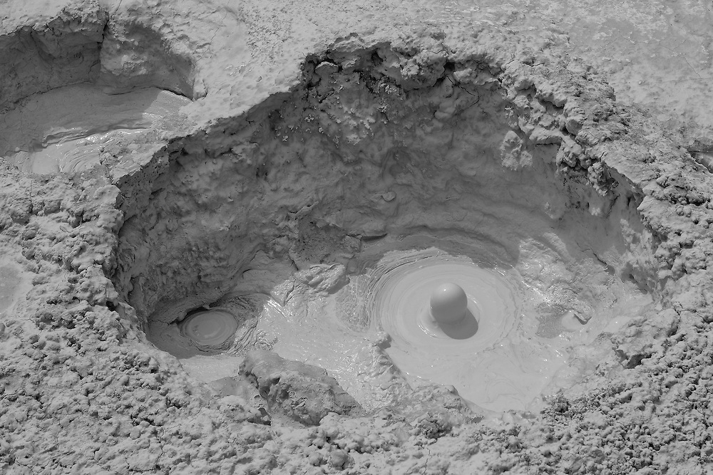 Bubbling Mud Geyser Pools- Yellowstone National Park - Black & White