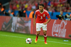 LILLE, FRANCE - Friday, July 1, 2016: Wales' Neil Taylor in action against Belgium during the UEFA Euro 2016 Championship Quarter-Final match at the Stade Pierre Mauroy. (Pic by David Rawcliffe/Propaganda)