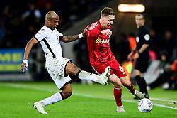 Andre Ayew of Swansea City marks Stefan Johansen of Fulham - Mandatory by-line: Ryan Hiscott/JMP - 29/11/2019 - FOOTBALL - Liberty Stadium - Swansea, England - Swansea City v Fulham - Sky Bet Championship