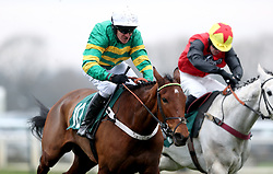 Laskadine ridden by Barry Geraghty (left) on their way to victory in the Racing TV Free For A Month Juvenile Hurdle during Midlands Raceday at Warwick Racecourse.