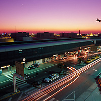 Plane and car traffic at Miami International Airport, Miami, Florida.