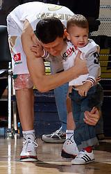 Vlado Ilievski and his child at Pre-season basketball tournament between Union Olimpija, Ljubljana, and Fenerbahce Ulker, Istanbul, on September 26, 2008, in Arena Tivoli in Ljubljana. Match was won by Union Olimpija 74:57. (Photo by Vid Ponikvar / Sportal Images)