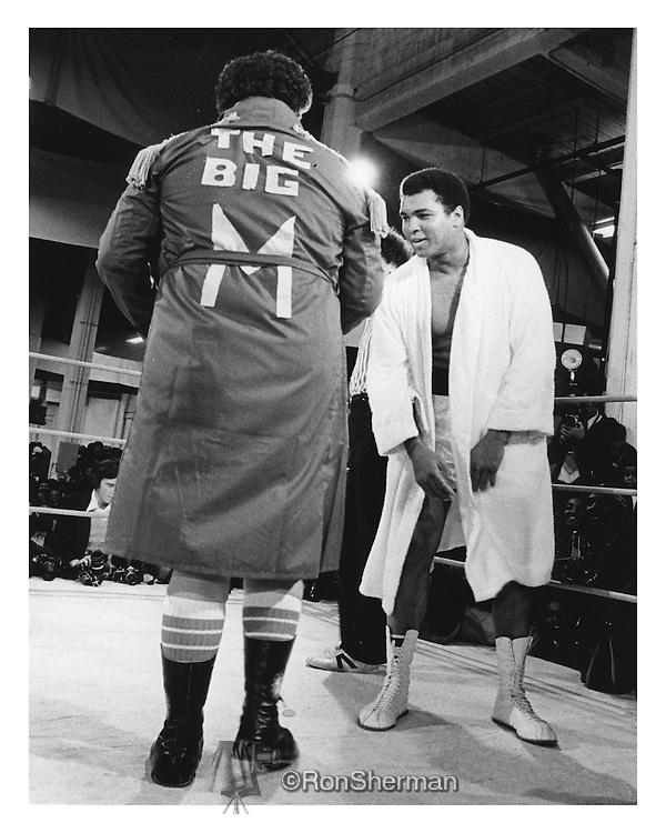 Boxer Mohammed Ali and Atlanta Mayor Maynard Jackson in Exhibition Boxing Match in Atlanta, Georgia in 1972.  Ali and Mayor Jackson share a laugh before the fight.