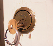 A793M5 Yale house lock with key in white door