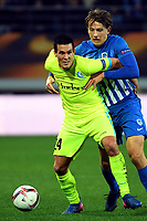Fotball<br /> Belgia<br /> Foto: PhotoNews/Digitalsport<br /> NORWAY ONLY<br /> <br /> GHENT, BELGIUM - MARCH 9 : Jeremy Perbet forward of KAA Gent, Sander Boli Berge midfielder of KRC Genk during the Europa League firt leg round of 16 game between KAA Gent and KRC Genk on March 09, 2017 in Ghent, Belgium, 9/03/2017