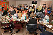 The Pima County Health Department shot clinic fills with those seeking vaccines for immunization from swine flu or H1N1 virus strain in Tucson, Arizona, USA.
