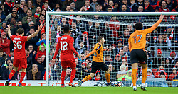 LIVERPOOL, ENGLAND - Saturday, January 28, 2017: Wolverhampton Wanderers' Andreas Weimann scores the second goal against Liverpool during the FA Cup 4th Round match at Anfield. (Pic by David Rawcliffe/Propaganda)
