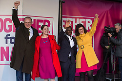 London, UK. 19 October, 2019. Deputy Leader Sir Ed Davey MP, Leader Jo Swinson MP, Sam Gyimah MP and Layla Moran MP of the Liberal Democrats appear together on stage before hundreds of thousands of pro-EU citizens at a Together for the Final Say People's Vote rally in Parliament Square as MPs meet in a 'super Saturday' Commons session, the first such sitting since the Falklands conflict, to vote, subject to the Sir Oliver Letwin amendment, on the Brexit deal negotiated by Prime Minister Boris Johnson with the European Union.