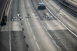 © Licensed to London News Pictures. 10/04/2020. Datchet, UK. The M4 at Junction 5 for Datchet in Berkshire almost empty at 8am on Good Friday, the start of the Easter Bank holiday, during a pandemic outbreak of the Coronavirus COVID-19 disease. The public have been told they can only leave their homes when absolutely essential, in an attempt to fight the spread of coronavirus COVID-19 disease. Photo credit: Ben Cawthra/LNP