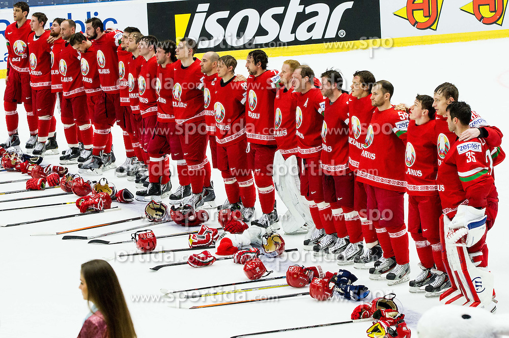 Players of Belarus listening to the national anthem after the Ice Hockey match between Belarus and Slovenia at Day 2 in Group B of 2015 IIHF World Championship, on May 2, 2015 in CEZ Arena, Ostrava, Czech Republic. Photo by Vid Ponikvar / Sportida