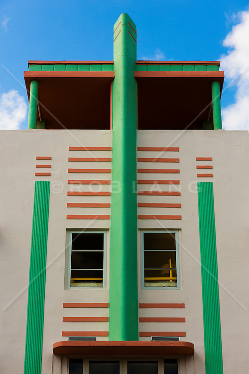 detail of a deco building in Miami Beach, Florida