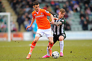 Luton Town's Dan Potts and Plymouth Argyle's Gregg Wylde during the Sky Bet League 2 match between Plymouth Argyle and Luton Town at Home Park, Plymouth, England on 19 March 2016. Photo by Graham Hunt.