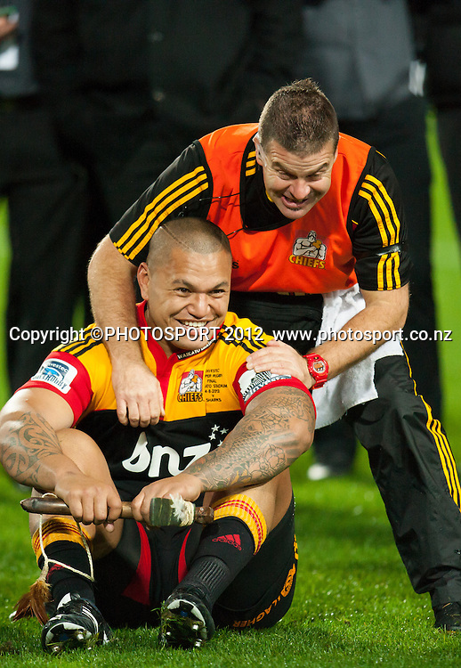 Chiefs' Hika Elliot is congratulated after the Investec Super Rugby final between Chiefs and Sharks won by Chiefs 37-6 at Waikato Stadium, Hamilton, New Zealand, Saturday 4 August 2012. Photo: Stephen Barker/Photosport.co.nz