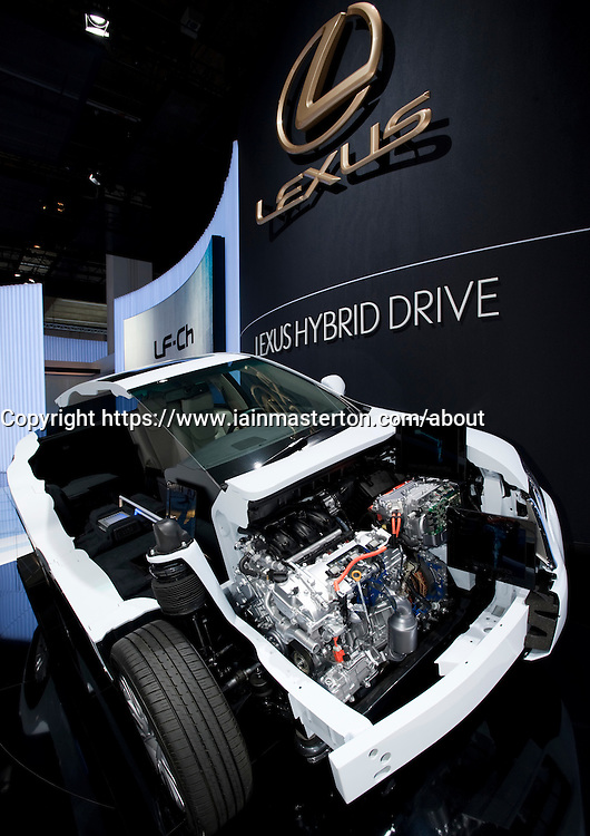 Cut away demonstration model of the Lexus SUV with hybrid drive at the Frankfurt Motor Show 2009