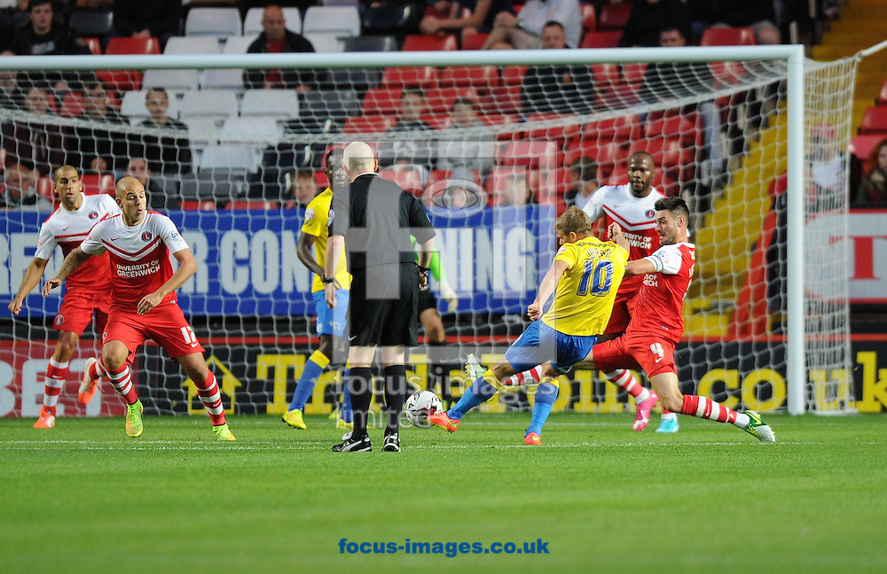 Jamie Ward of Derby County (10) scores the equaliser during the Sky Bet Championship match at The Valley, London<br /> Picture by Alan Stanford/Focus Images Ltd +44 7915 056117<br /> 19/08/2014