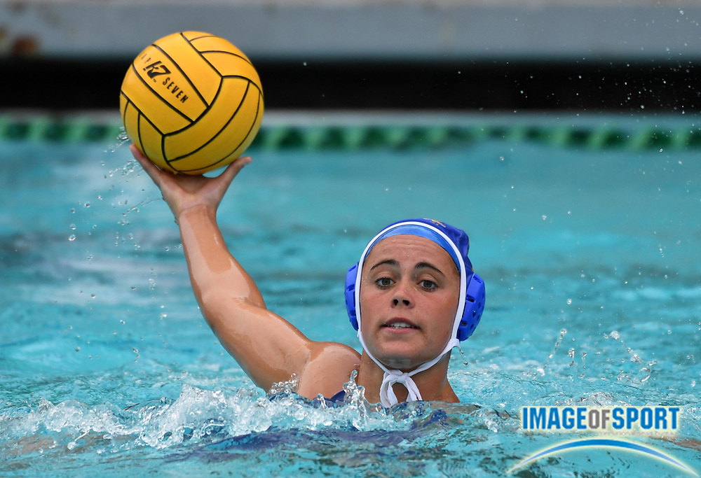 UCLA Bruins attacker Grace Reggo (6) against the Pacific Tigers during an NCAA college women's water polo quarterfinal game in Los Angeles, Friday, May 11, 2018. UCLA defeated Pacific, 8-4.