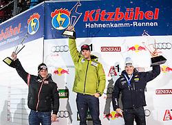 25.01.2013, Zielhaus, Kitzbuehel, AUT, FIS Weltcup Ski Alpin, Super G, Herren, Siegerehrung, im Bild v.l.n.r Matthias Mayer (AUT, 2. Platz), Aksel Lund Svindal (NOR, 1. Platz) und Christof Innerhofer (ITA, 3. Platz) // f.l.t.r. 2nd place Matthias Mayer of Austria, 1st place Aksel Lund Svindal of Norway and 3th place Christof Innerhofer of Italy at the mens SuperG Winner ceremony of the FIS Ski Alpine World Cup at the Zielhaus, Kitzbuehel, Austria on 2013/01/25. EXPA Pictures © 2013, PhotoCredit: EXPA/ Johann Groder