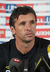 CARDIFF, WALES - Thursday, October 6, 2011: Wales' manager Gary Speed MBE during a press conference at the St. David's Hotel ahead of the UEFA Euro 2012 Qualifying Group G match against  Switzerland. (Pic by David Rawcliffe/Propaganda)