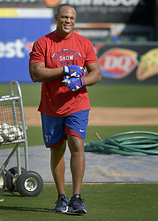 September 13, 2017 - Arlington, TX, USA - Texas Rangers third baseman Adrian Beltre after taking batting practice before a game against the Seattle Mariners at Globe Life Park in Arlington, Texas, on Wednesday, Sept. 13, 2017. (Credit Image: © Max Faulkner/TNS via ZUMA Wire)