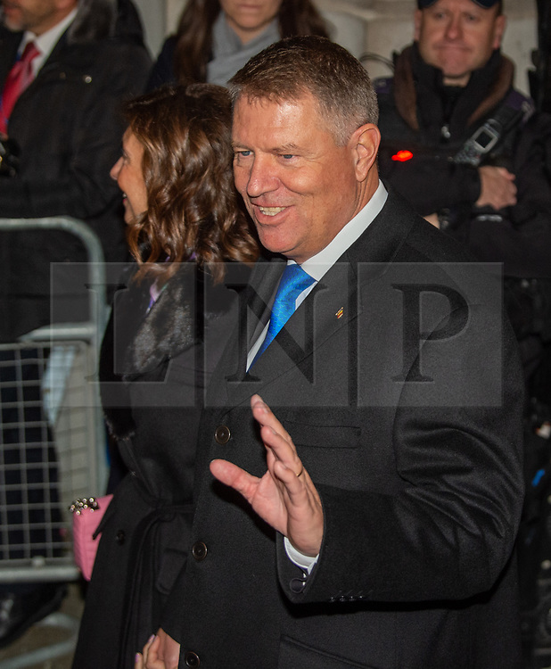 © Licensed to London News Pictures. 03/12/2019. London, UK. President of Romania Klaus Iohannis arrives in Downing Street as NATO Leaders' gather for a reception hosted by United Kingdom Prime Minister Boris Johnson.<br /> Allied leaders are in London for a NATO summit. The summit also marks NATO's 70th anniversary.<br /> Photo credit: Peter Manning/LNP<br /> <br /> <br /> .