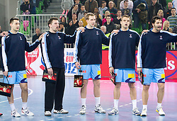 Players of Slovenia Dragan Gajic, Primoz Prost, Jure Susin, Matjaz Brumen, David Spiler  during handball match between National teams of Slovenia and Poland of Qualifications for EURO 2012, on March 9, 2011 in Arena Stozice, Ljubljana, Slovenia. (Photo By Vid Ponikvar / Sportida.com)