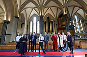 Antic Disposition present<br /> Richard III<br /> by William Shakespeare<br /> at the Temple Church, London, Great Britain <br /> Press photography <br /> 23rd August 2017 <br /> <br /> Toby Manley as Richard III - centre in white shirt <br />  <br /> Chris Courtenay as Lord Hastings<br /> <br /> William de Coverly as Duke of Clarence / Sir James Tyrell<br /> <br /> Joe Eyre as Duke of Buckingham<br /> <br /> Alex Hooper as Lord Rivers / Earl of Richmond<br /> <br /> <br /> Robert Nairne as Sir William Catesby<br /> <br /> Jess Nesling as Queen Elizabeth / Prince of Wales<br /> <br /> Charles Neville as King Edward IV / Mayor of London / Earl of Oxford<br /> <br /> Jill Stanford as Duchess of York / Bishop of Ely<br /> <br /> Louise Templeton as Queen Margaret<br /> <br /> Bryony Tebbutt as Lady Anne / Duke of York<br /> <br /> <br /> <br /> <br /> <br /> &nbsp;<br /> Directors<br /> Ben Horslen<br /> John Risebero<br /> Designer<br /> John Risebero<br /> Lighting Designer<br /> Tom Boucher<br /> &nbsp;<br /> Composer<br /> James Burrows<br /> &nbsp;<br /> Fight Director<br /> Bethan Clark&nbsp;of Rc-Annie Ltd.<br /> &nbsp;<br /> Stage Manager<br /> Damien Stanton<br /> &nbsp;<br /> Technical Stage Manager<br /> Angus Chisholm<br /> <br /> Photograph by Elliott Franks <br /> Image licensed to Elliott Franks Photography Services