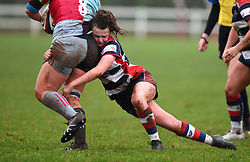Cat McNaney of Bristol Ladies tackles Sammy Voyle of Harlequins - Mandatory by-line: Paul Knight/JMP - 03/02/2018 - RUGBY - Cleve RFC - Bristol, England - Bristol Ladies v Harlequins Ladies - Tyrrells Premier 15s