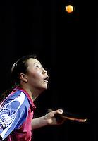 EINDHOVEN - Li Jiao, zaterdag tijdens het NK tafeltennis in Eindhoven. Jao heeft zondag de nationale titel veroverd. ANP PHOTO KOEN SUYK