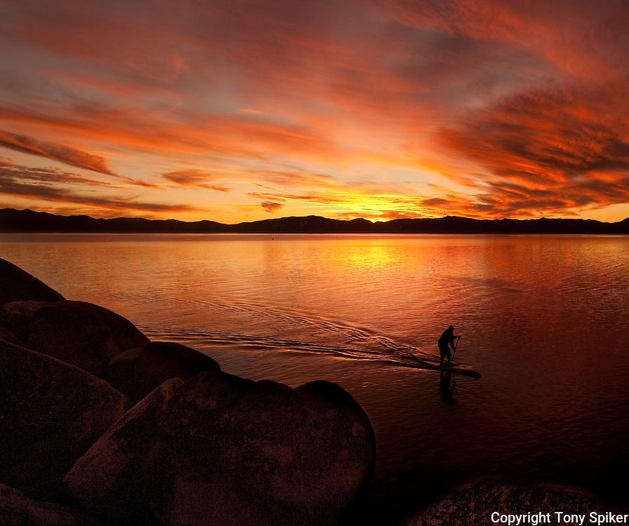 """Sand Harbor Sunset Paddle 3"" - Stand Up Paddleboards at Sand Harbor, Lake Tahoe, Nevada"