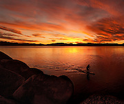 """Sand Harbor Sunset Paddle 3"" - Stand Up Paddleboards at Sand Harbor, Lake Tahoe, Nevada"