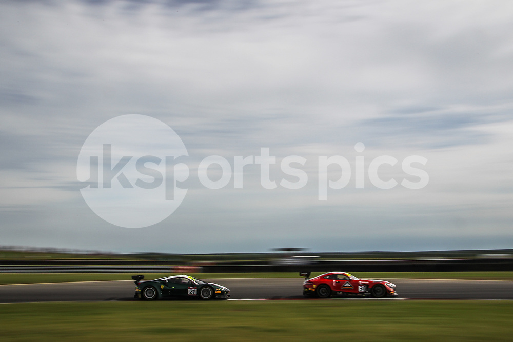 AmD Tuning.com Mercedes AMG GT3 with drivers Lee Mowle & Ryan Ratcliffe leads Spirit of Race Ferrari 488 GT3 with drivers Duncan Cameron & Matt Griffin during the British GT And BRDC British F3 Championships at the Snetterton Circuit, Norwich, England on 28 May 2017. Photo by Jurek Biegus.