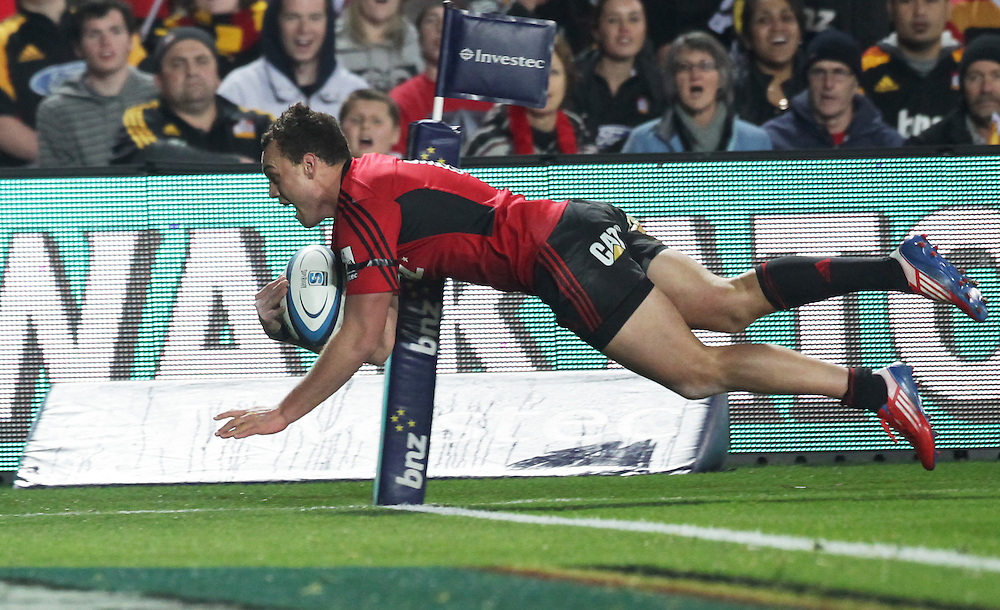 Crusaders' Israel Dagg scores a try against the Chiefs in a Super Rugby semi final match, Waikato Stadium, Hamilton, New Zealand, Saturday, July 27, 2013.  Credit:SNPA / David Rowland