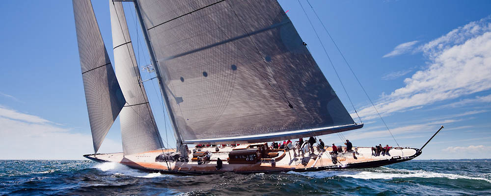 Hanuman, J Class, sailing in race 2 during the Newport Bucket Regatta.