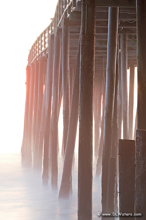 As a result of a long exposure of Avalon fishing pier the waves become ghostlike.