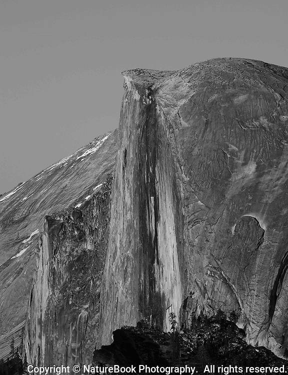 The imposing face of Half Dome, one of the most prominent features at Yosemite National Park in California.