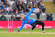 Wicket - Danny Briggs of Sussex runs out Tom Abell of Somerset during the Vitality T20 Finals Day semi final 2018 match between Sussex Sharks and Somerset County Cricket Club at Edgbaston, Birmingham, United Kingdom on 15 September 2018.
