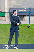 Kyle MacLachlan watches his opening tee shot of round three, during round three of the Alfred Dunhill Links Championships 2018 at St Andrews, West Sands, Scotland on 6 October 2018.