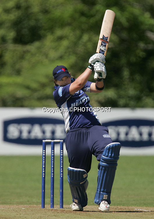 Megan Murphy in action for Auckland, State League, Womans Cricket, Otago Sparks v Auckland Hearts, Melville Park, Auckland, New Zealand. 08 December 2007, Photo : Chris Skelton/PHOTOSPORT