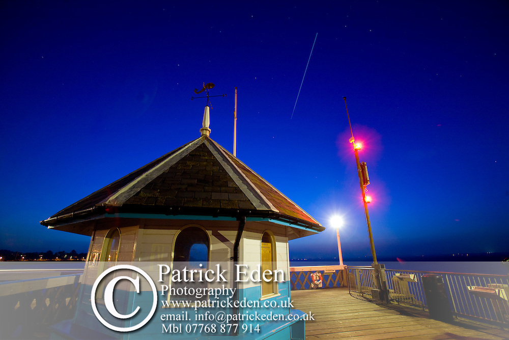 International Space Station, long exposure, trail, illuminated, path, Yarmouth Pier, Dusk, Yarmouth, Isle of Wight, England, UK Photographs of the Isle of Wight by photographer Patrick Eden photography photograph canvas canvases